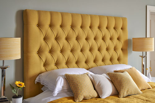 Kingsize deep buttoned mustard headboard the headboard workshop