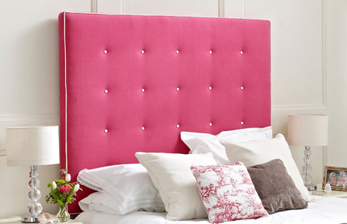 superking shallow buttoned headboard hot pink